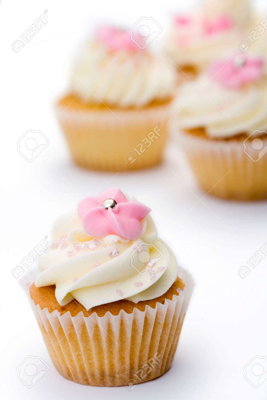 Pink and white cupcakes Stock Photo - 4923252