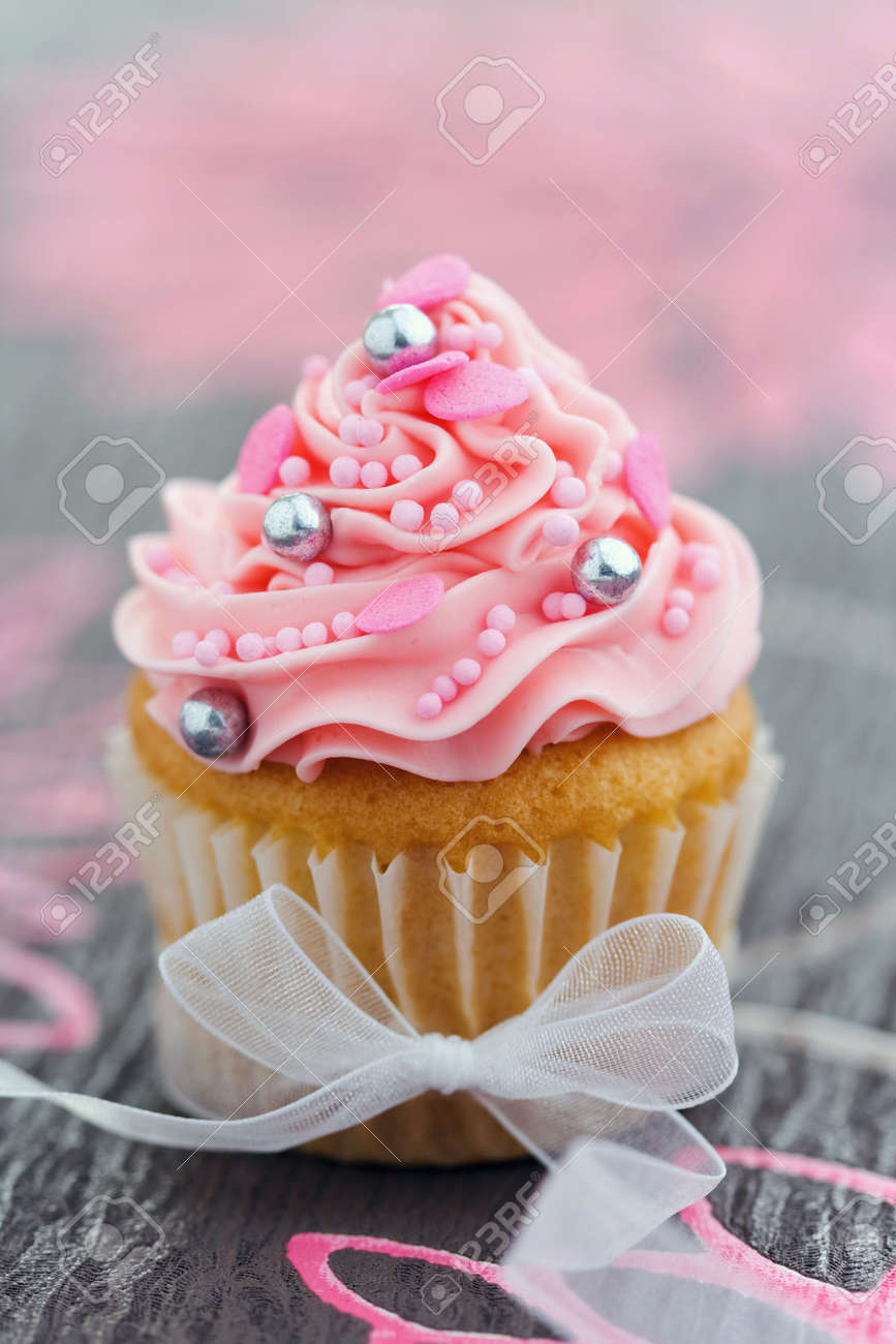 Pretty Pink Ribbon Pretty Pink Cupcake Tied With
