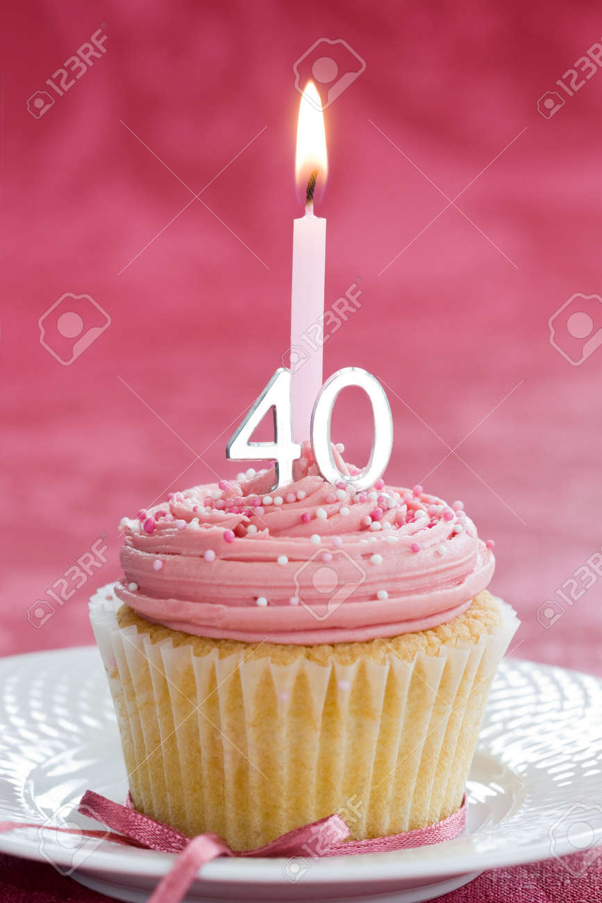 Mini Fortieth Birthday Cake Stock Photo Picture And Royalty Free