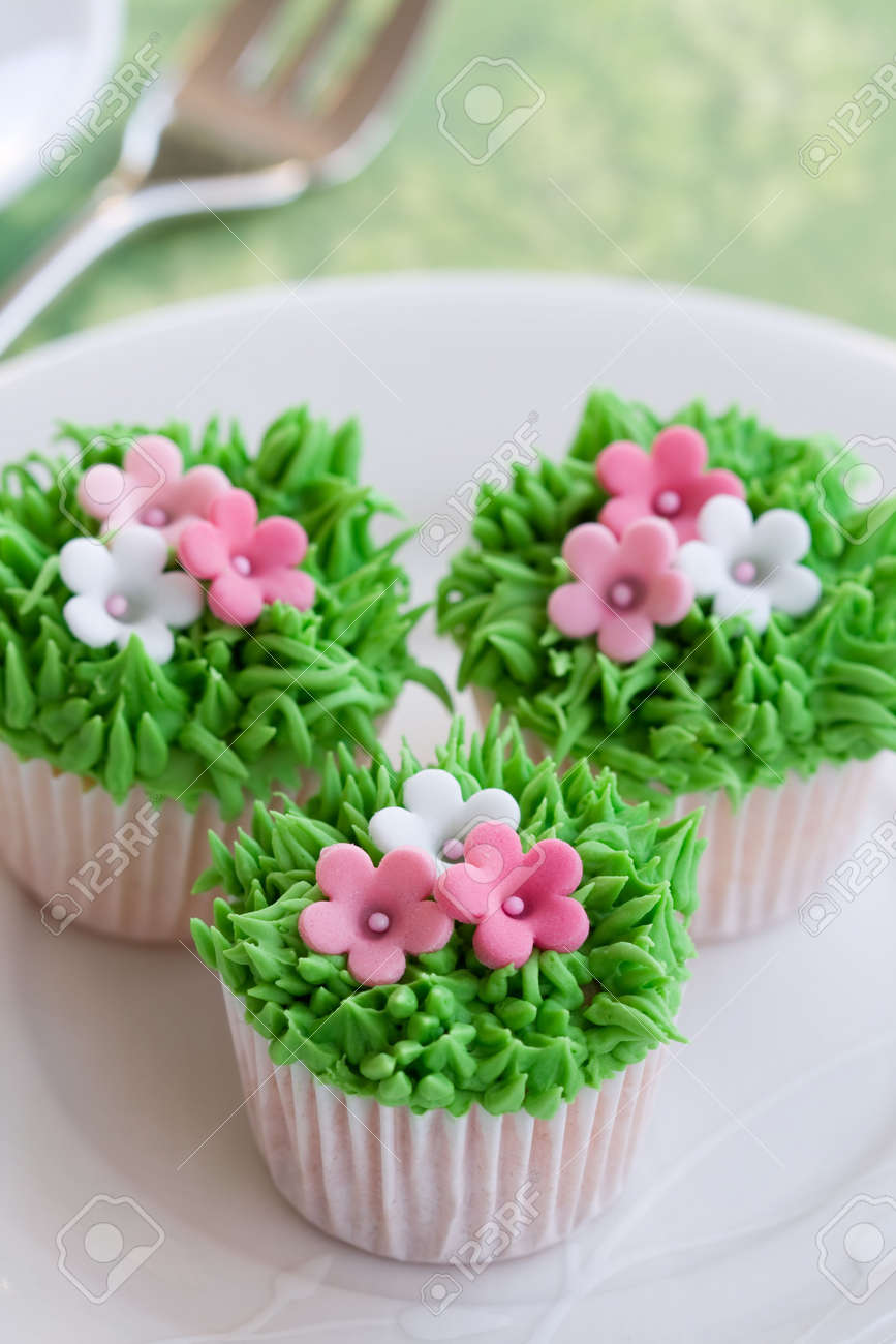 Flower Garden Cupcakes Stock Photo
