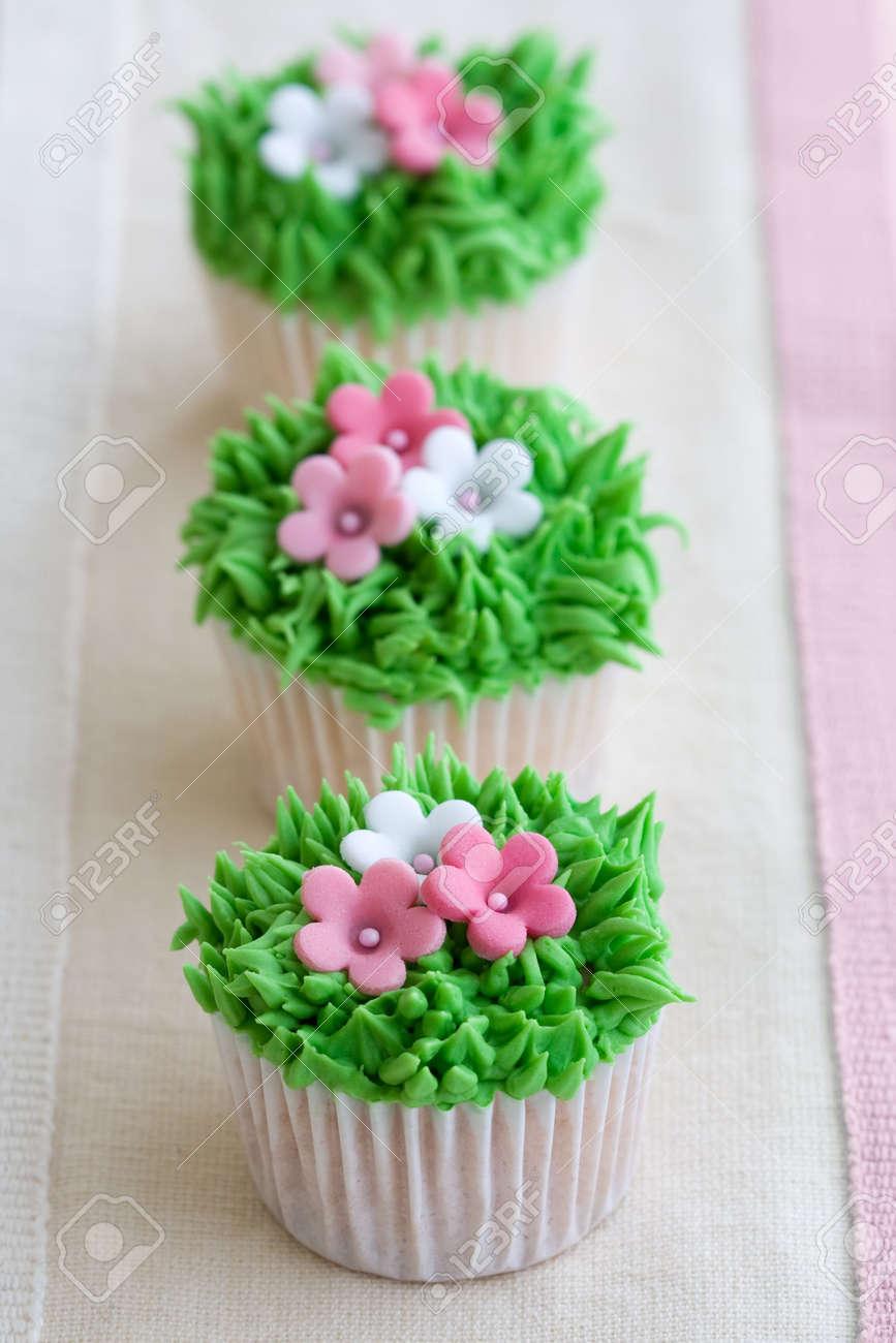Flower Garden Cupcakes Stock Photo
