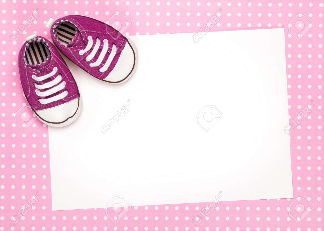 Blank card with pink baby shoes Stock Photo - 6322998