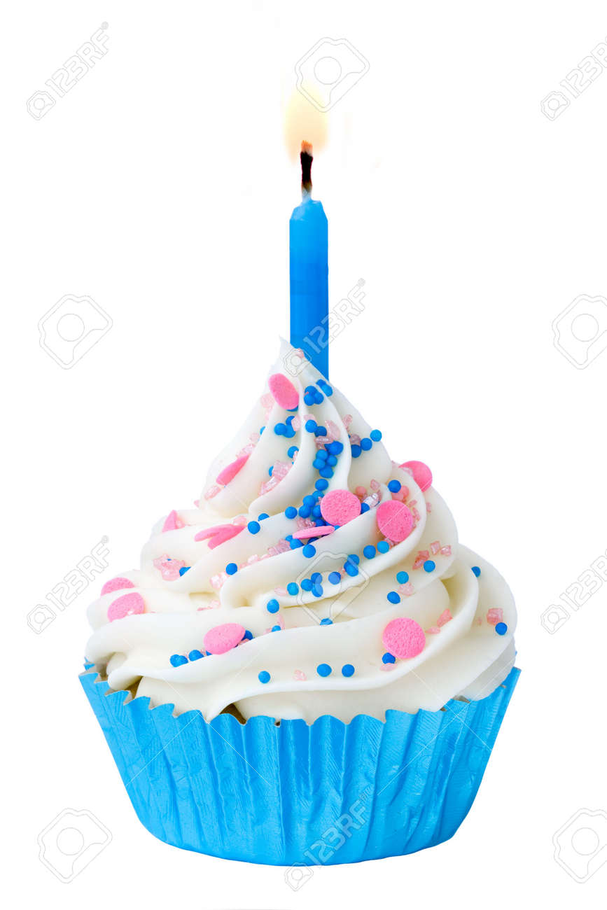 Blue Birthday Cupcake Stock Photo Picture And Royalty Free Image