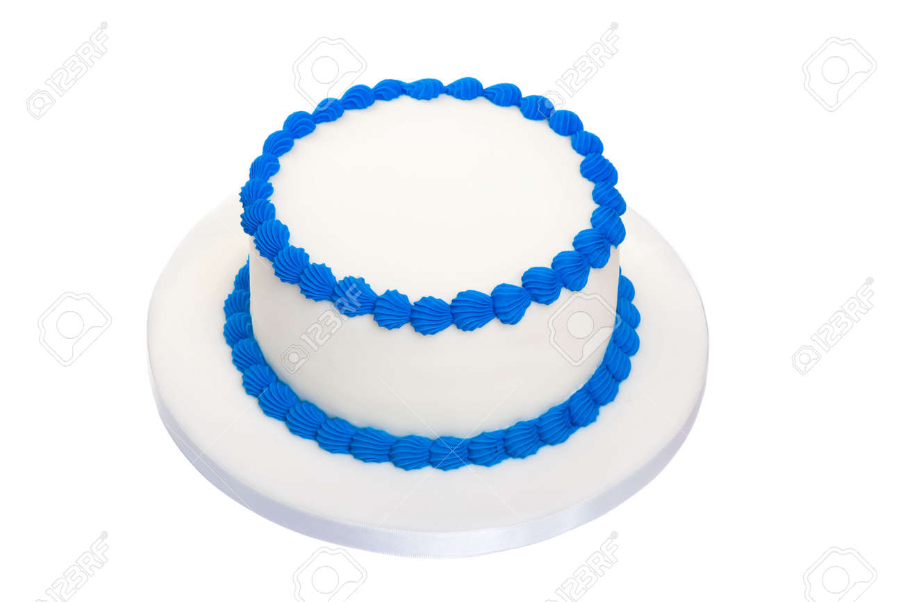 Blank Birthday Cake Stock Photo