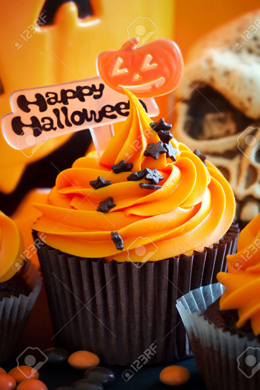 happy halloween cupcakes stock photo