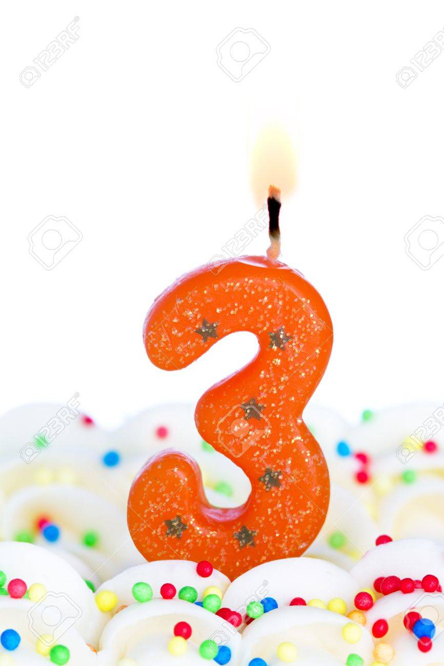Number three candle Stock Photo - 9990893