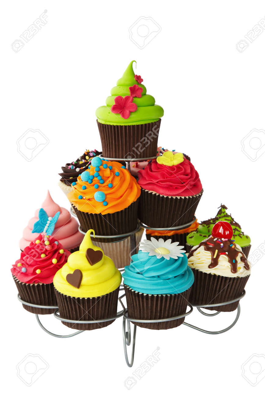 Colorful cupcakes on a cakestand Stock Photo - 14654715