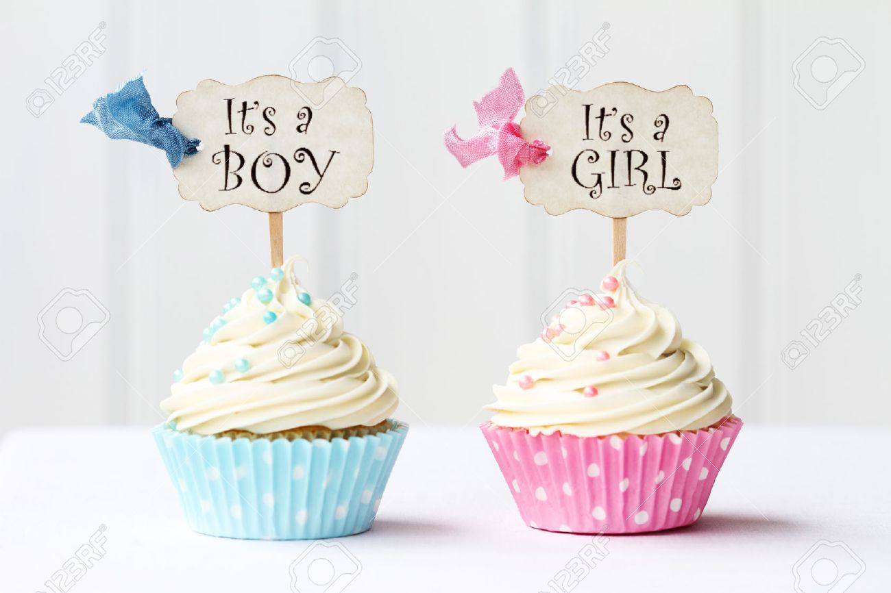 baby shower cupcakes for a girl and boy stock photo, picture and, Baby shower invitation