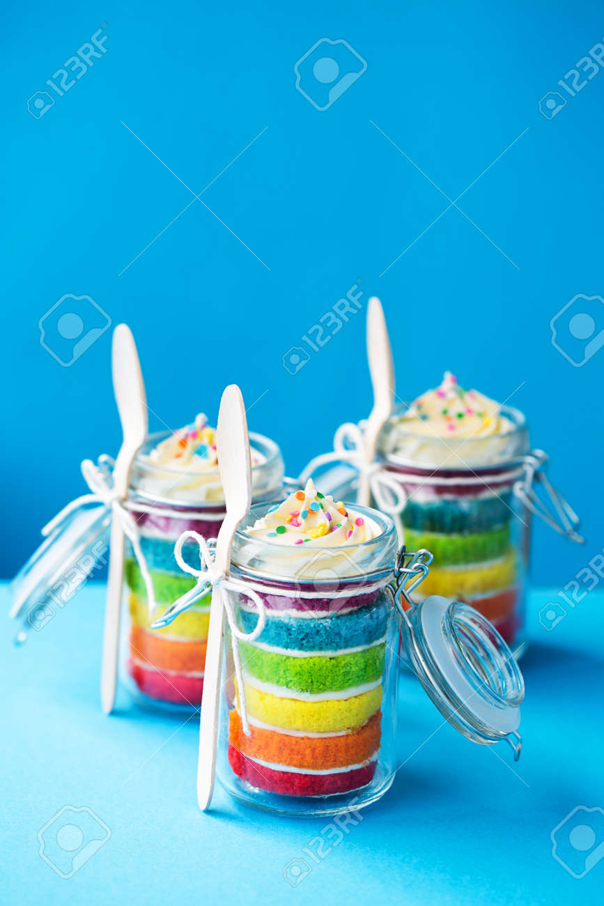 Mini Jars Of Rainbow Cake Stock Photo Picture And Royalty Free