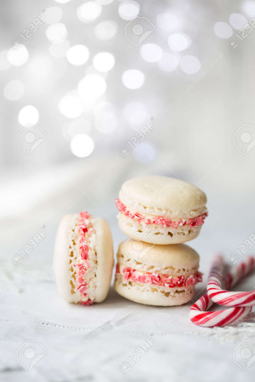 Christmas Macarons.Christmas Macarons With A Crushed Candy Cane Filling
