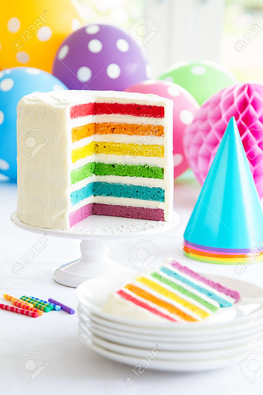 Brightly Colored Rainbow Layer Cake Stock Photo
