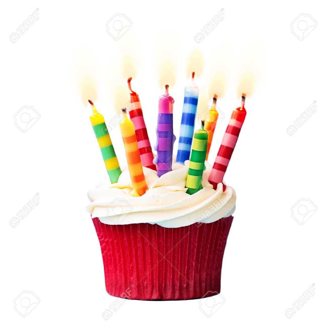 Geburtstag Cupcake Vor Einem Weissen Hintergrund Lizenzfreie Fotos