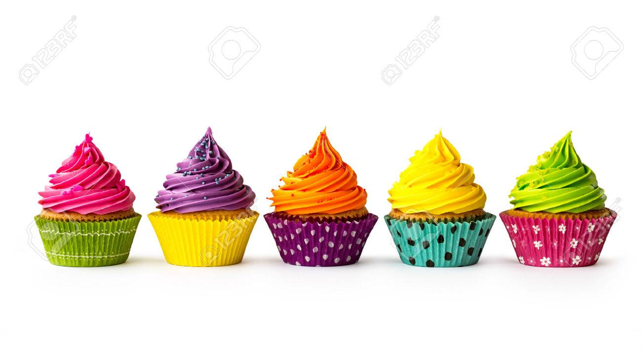 Colorful cupcakes on a white background - 35758647