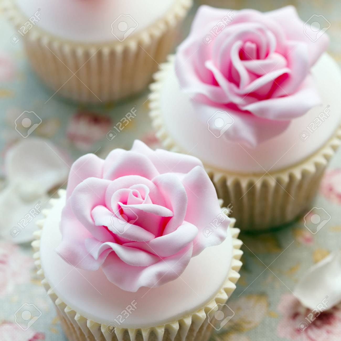 Rose Cupcakes For A Wedding Stock Photo, Picture And Royalty Free ...