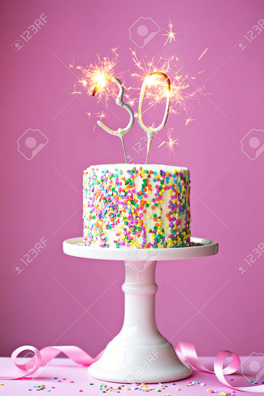 30th Birthday Cake With Sparklers Stock Photo Picture And Royalty