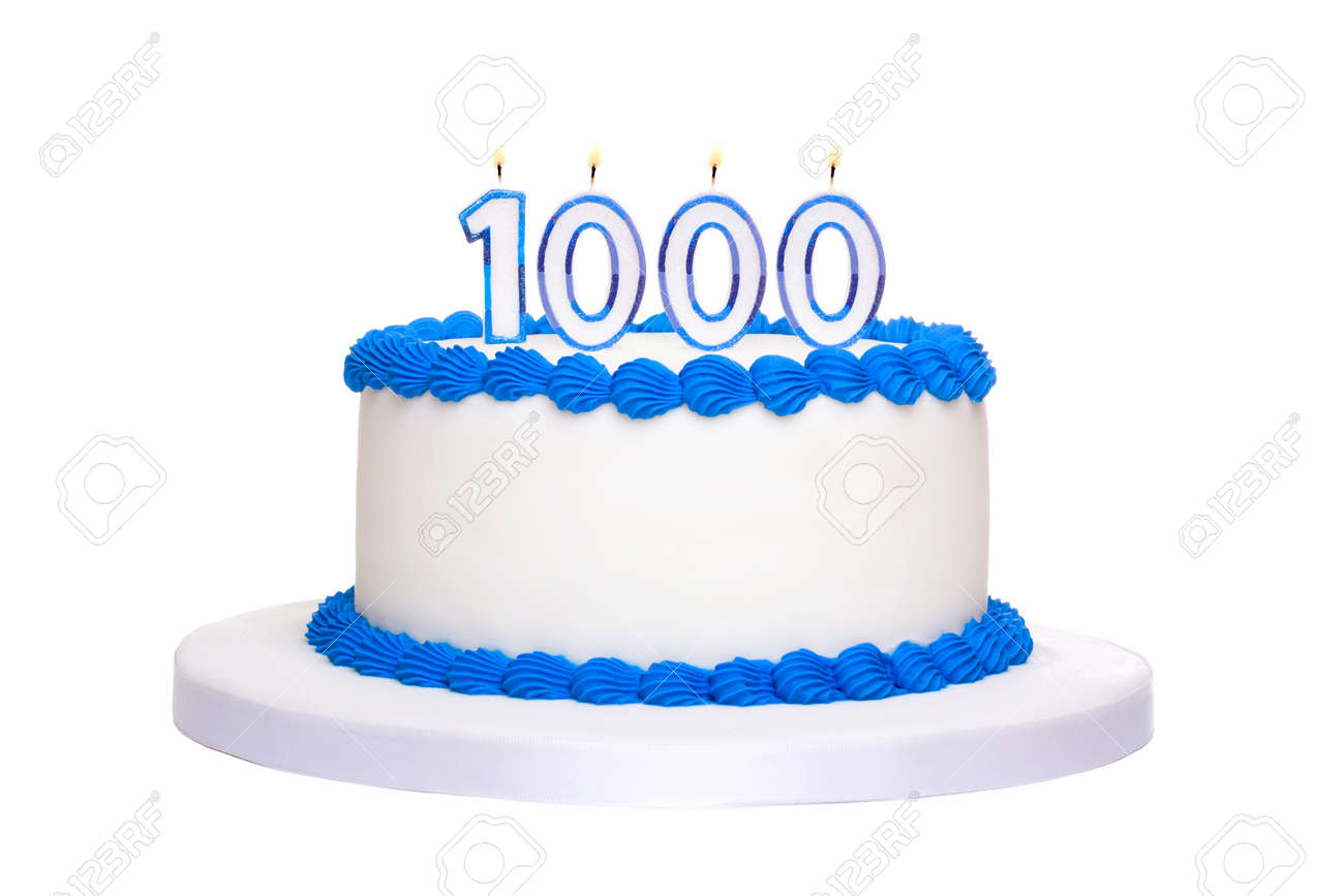 Birthday Cake With Candles Reading 1000 Stock Photo