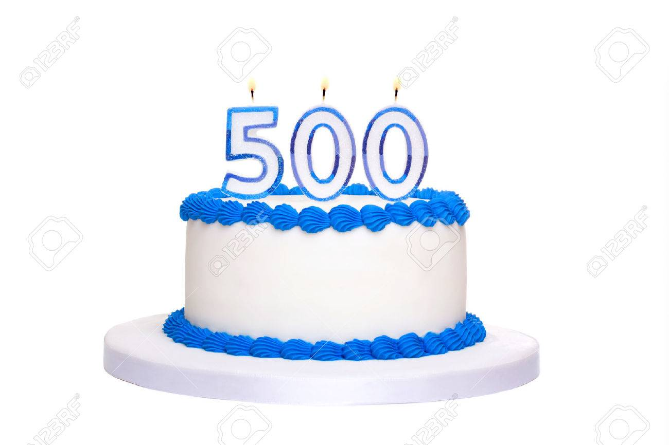 Birthday Cake With Candles Reading 500 Stock Photo