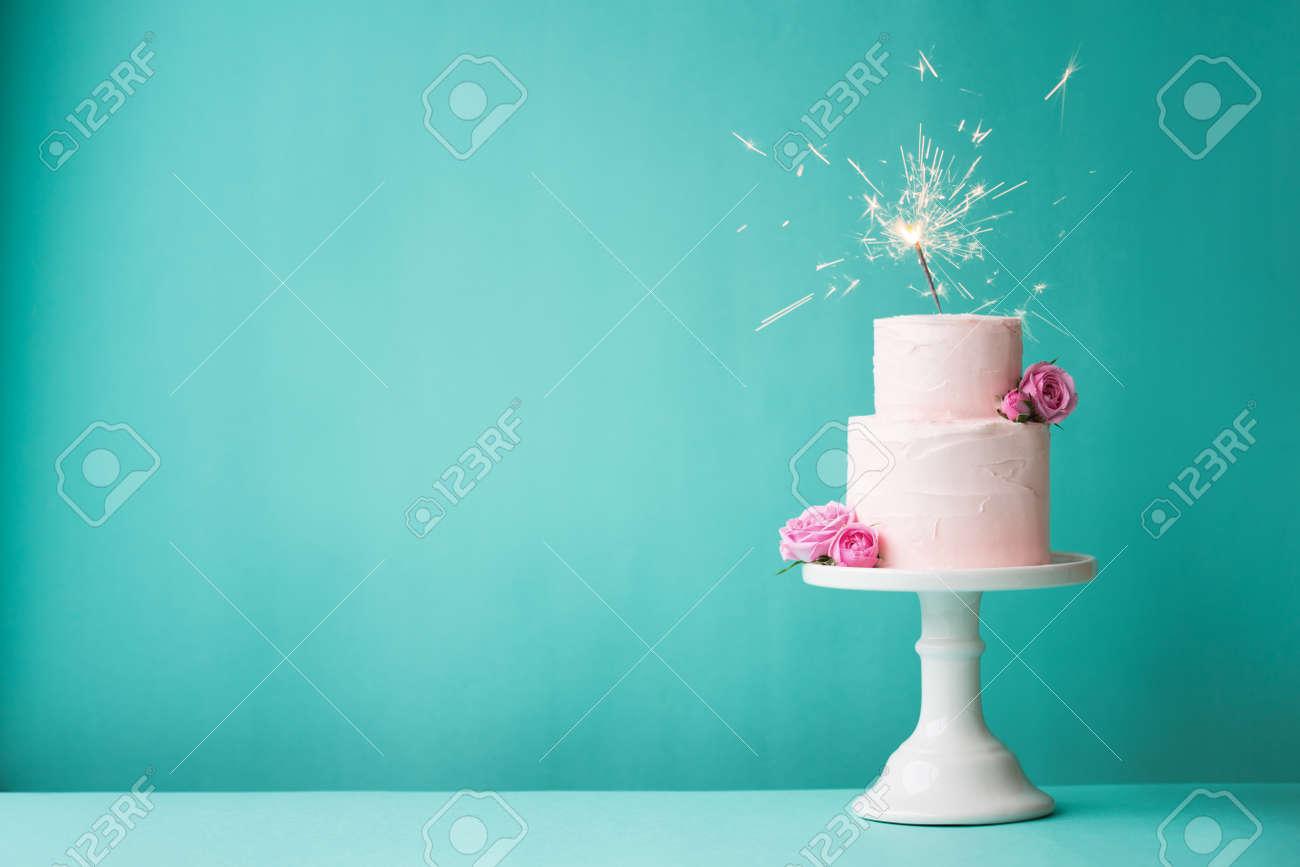 Birthday cake with sparkler Stock Photo - 43878433