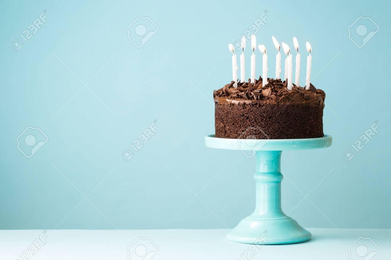 Chocolate Birthday Cake With Candles Stock Photo