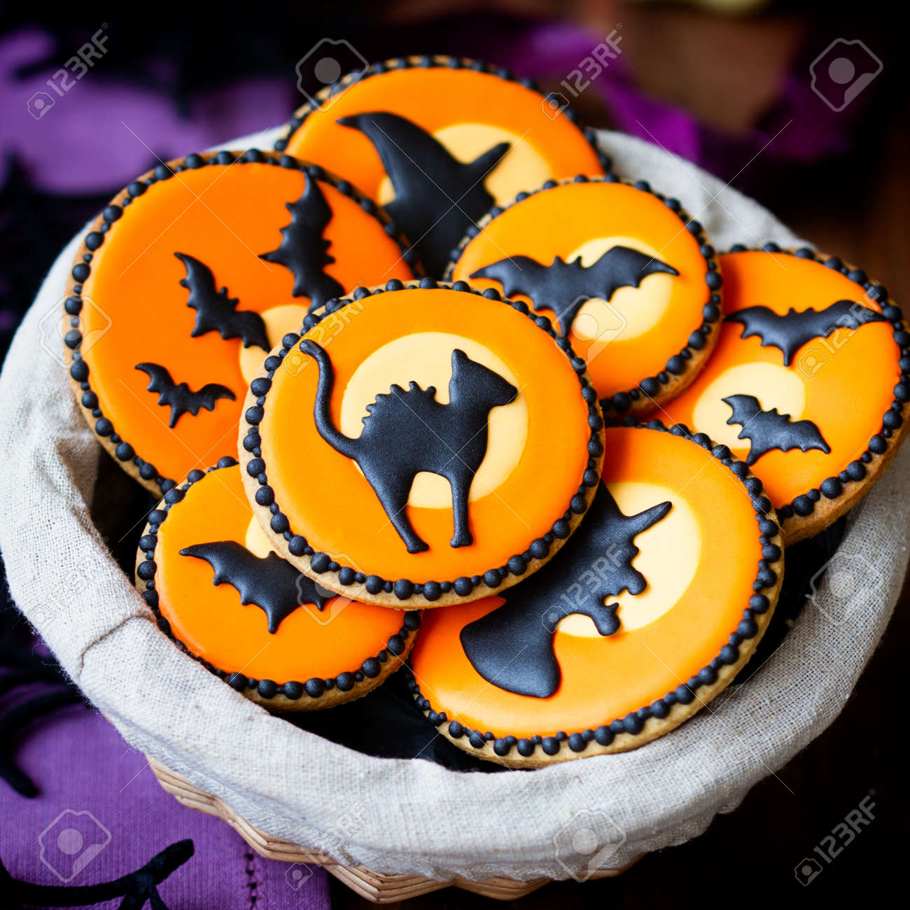 Basket Of Halloween Cookies Stock Photo, Picture And Royalty Free ...