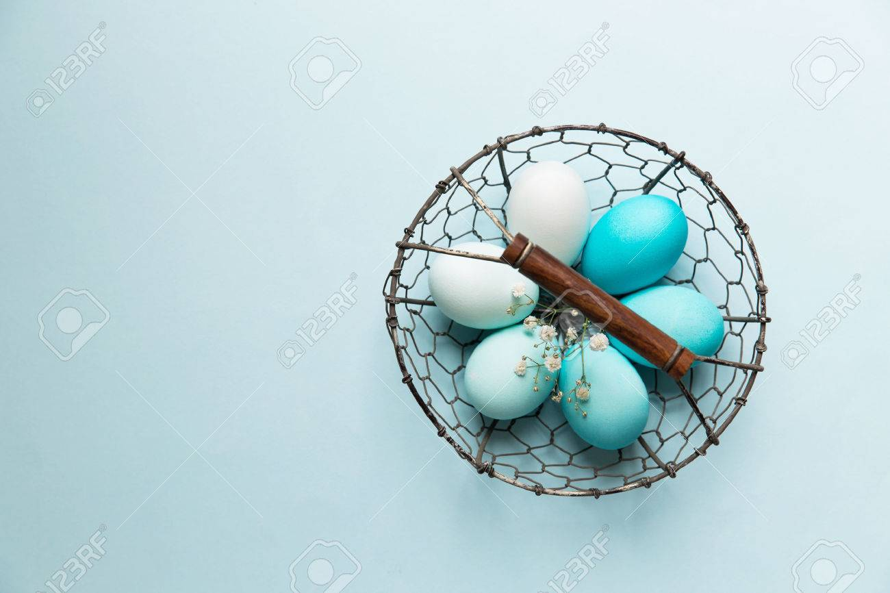 Easter Eggs In A Wire Basket Stock Photo, Picture And Royalty Free ...