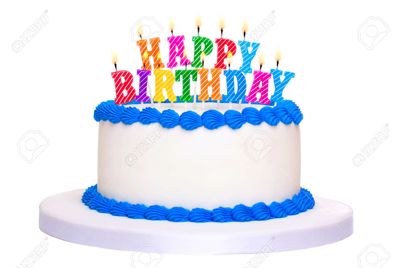 Birthday Cake Decorated With Happy Candles Stock Photo