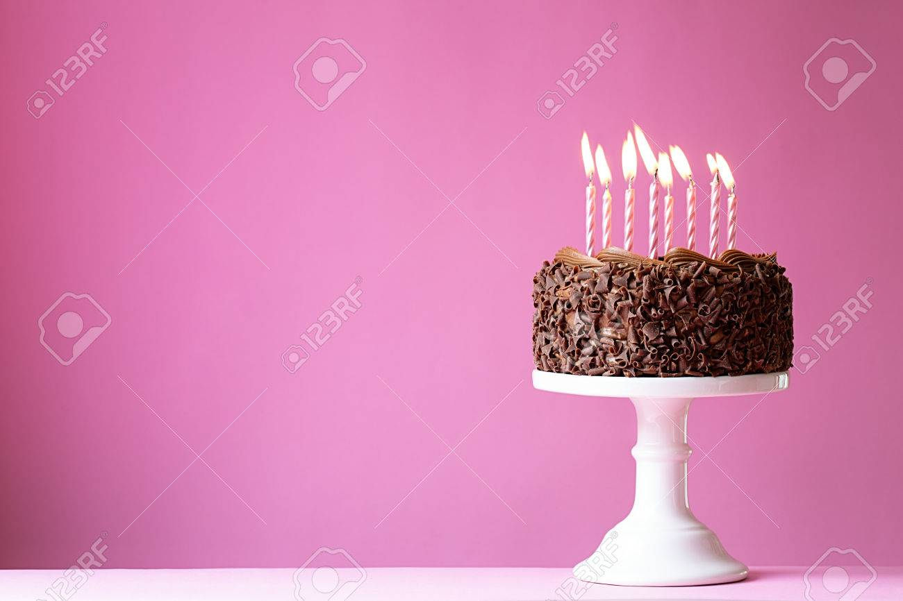 Birthday cake with pink candles - 52996893