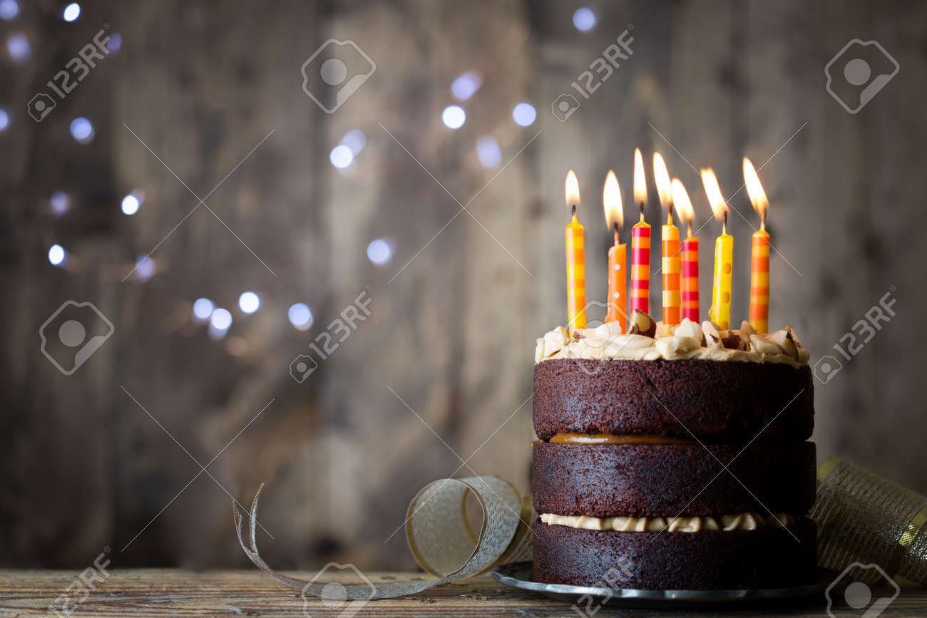 Fabulous Chocolate Birthday Cake With Candles Stock Photo Picture And Birthday Cards Printable Benkemecafe Filternl