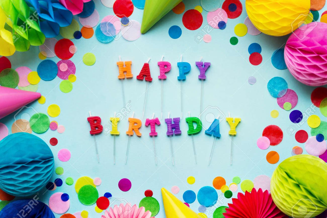 Birthday Cake Candles Spelling Happy Stock Photo