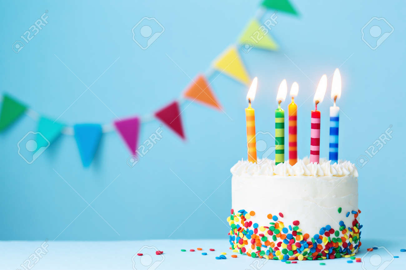 Birthday cake with colorful candles - 68846975