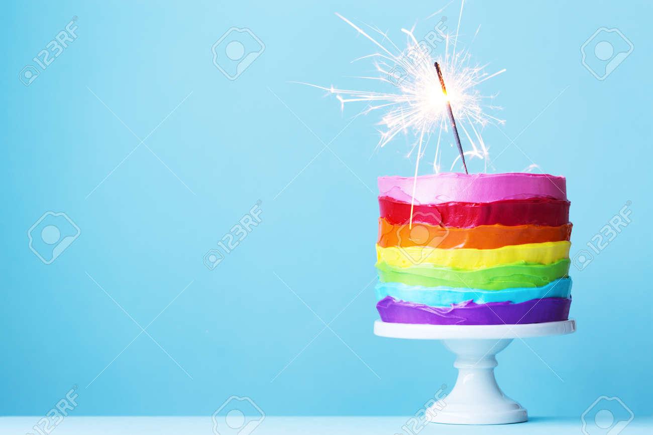 Rainbow cake with sparkler - 70121468