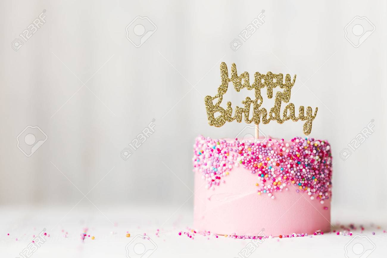 Birthday Cake With Sparkly Banner Stock Photo