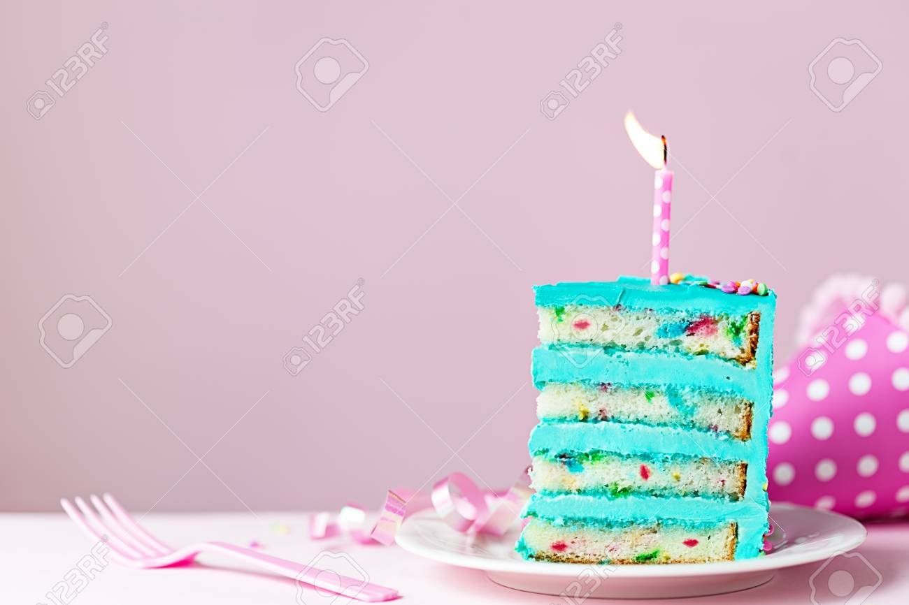 Super Colorful Slice Of Birthday Cake With One Candle Stock Photo Personalised Birthday Cards Paralily Jamesorg