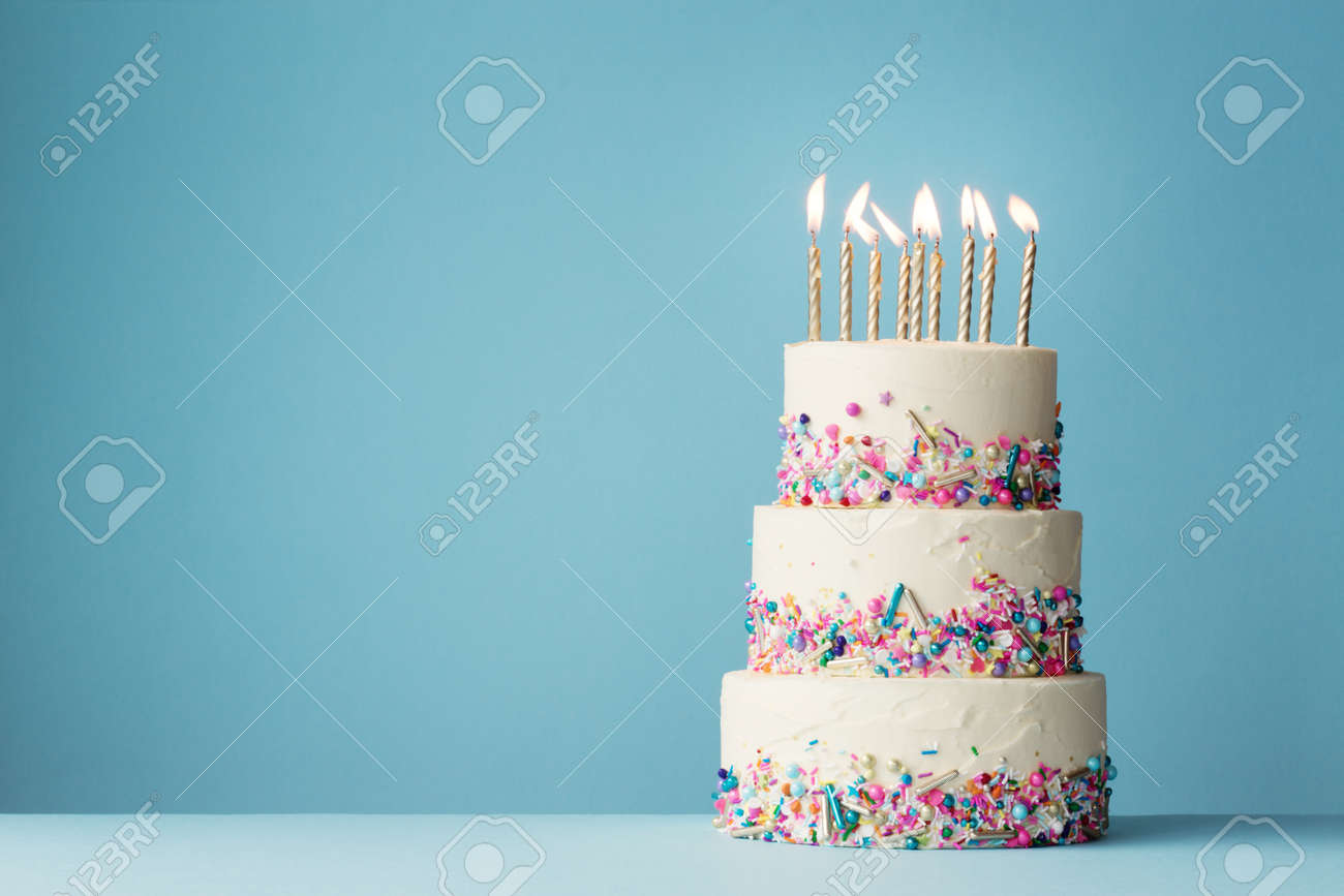Fantastic Birthday Cake With Three Tiers And Colorful Sprinkles Stock Photo Funny Birthday Cards Online Inifofree Goldxyz