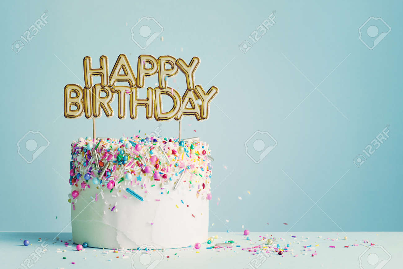 Fine Birthday Cake With Gold Happy Birthday Banner Stock Photo Picture Birthday Cards Printable Opercafe Filternl