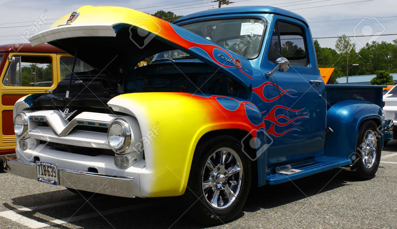 GLOUCESTER, VA- May 12:A 1955 F-100 at the relay for life car shows sponsored by Auto Max & the MPCC at the Main St shopping center in Gloucester Virginia, 2012 in Gloucester Virginia on May 12, 2012. Stock Photo - 13744160