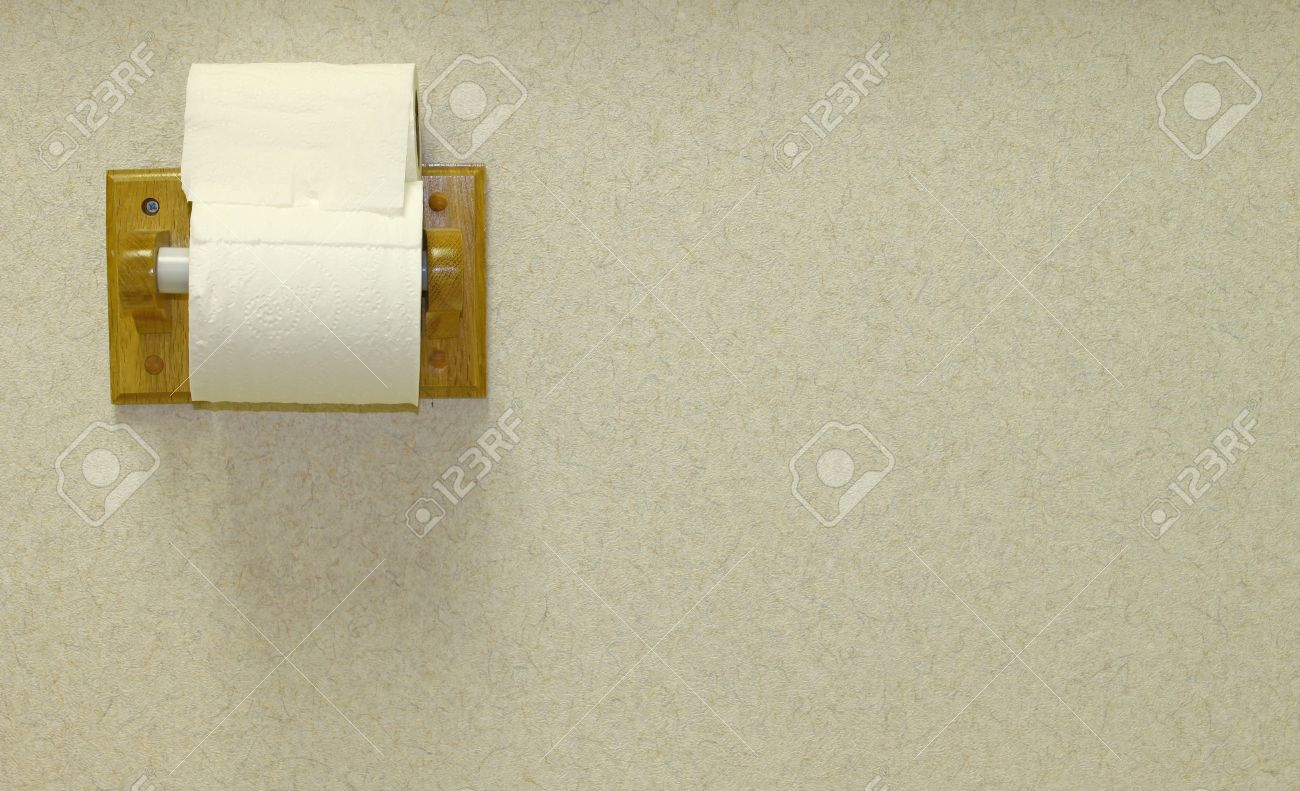A Wooden Toilet Paper Holder Mounted On A Textured Wall With Stock Photo Picture And Royalty Free Image Image 14952867