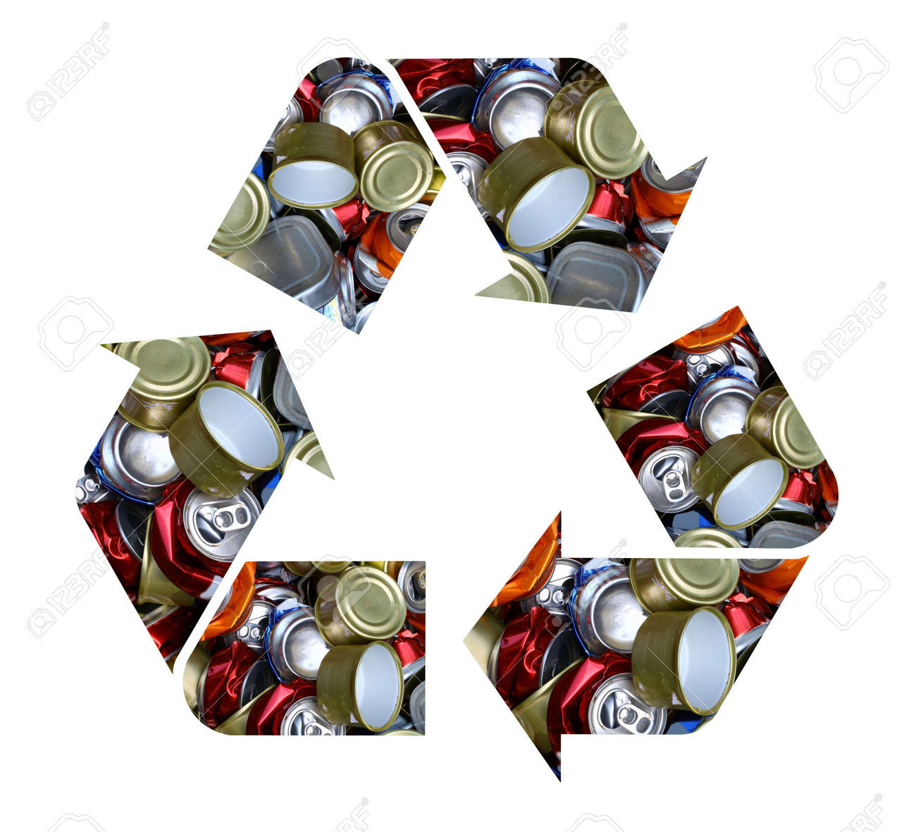 The international recycle symbol made with crushed aluminum cans the international recycle symbol made with crushed aluminum cans isolated on white biocorpaavc Gallery