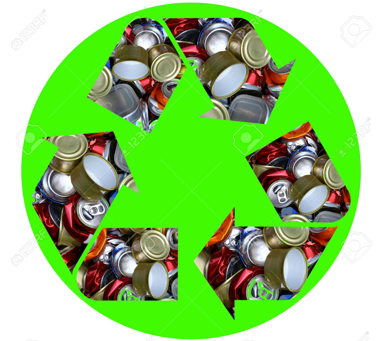 The international recycle symbol made with crushed aluminum cans isolated on white Stock Photo - 15526276