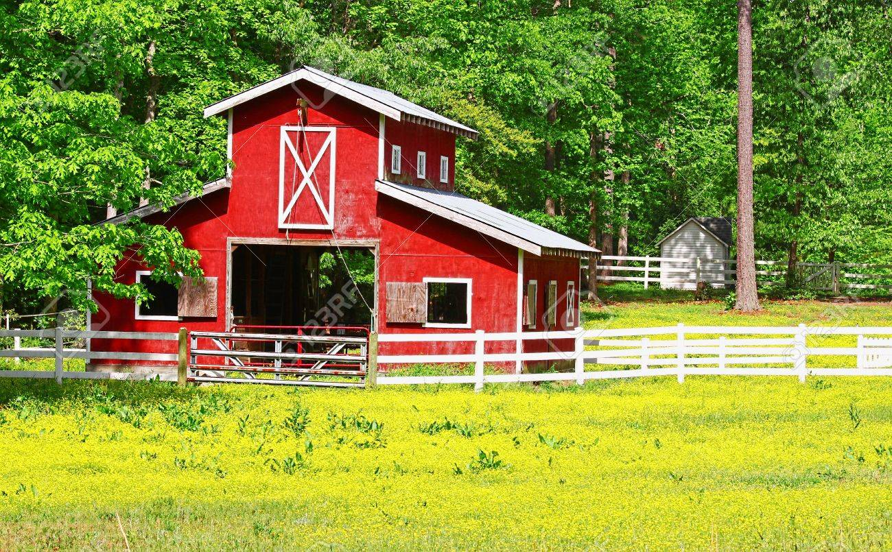 An Unusual Two Story Old Red Horse Barn Outside Among The Woods Stock Photo Picture And Royalty Free Image Image 19851207
