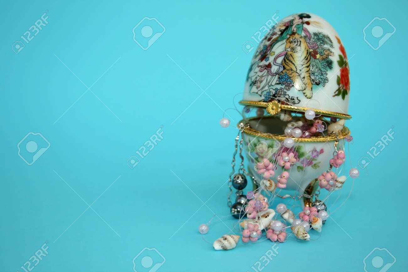 Nice jewellery box and different beautiful necklaces. Stock Photo - 1398616
