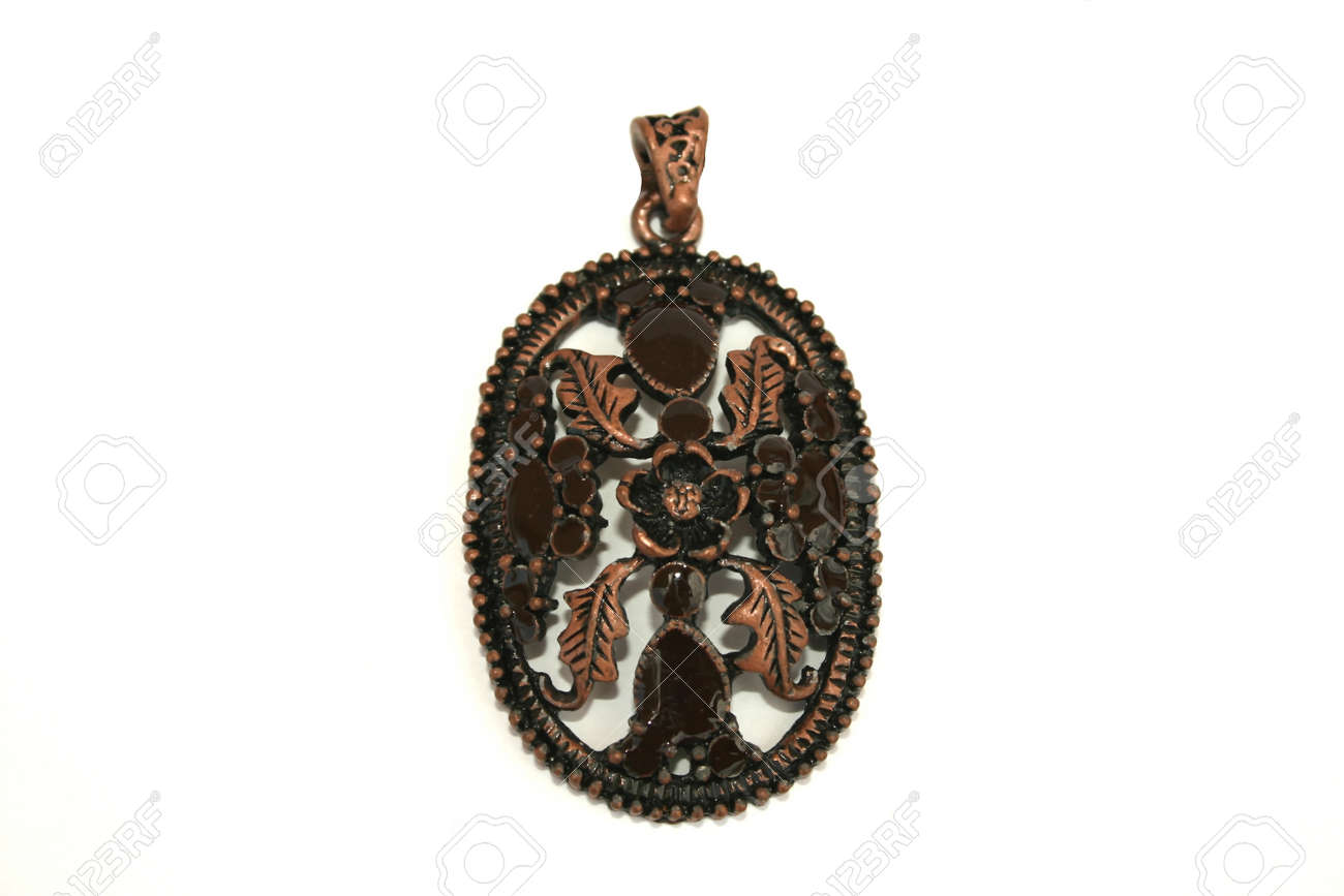 Brown metallic medallion isolated on the white. Stock Photo - 1398662