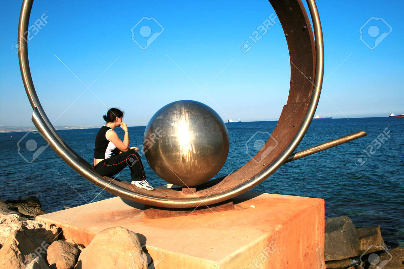 The Earth,girl and a sea together. Stock Photo - 1565309