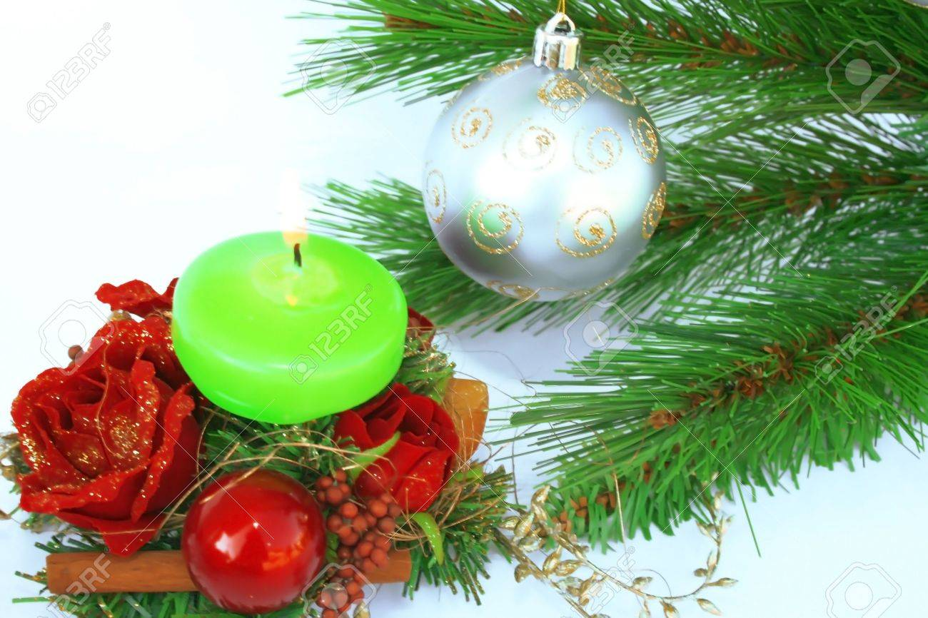 Holly christmas ornaments - Christmas Ornaments Gray Ball Fir Tree Candle Holly Berry