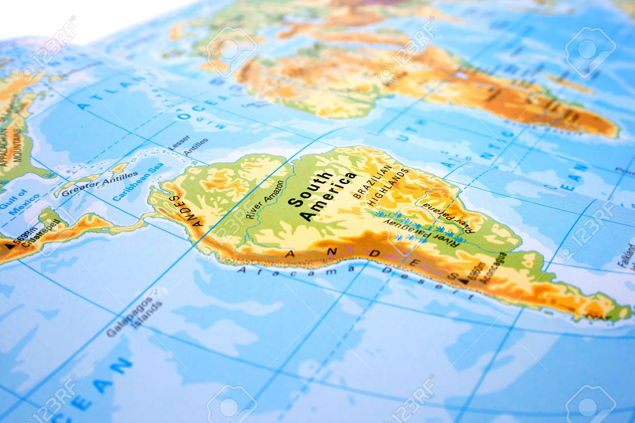 part of the world map with south america and africa stock photo