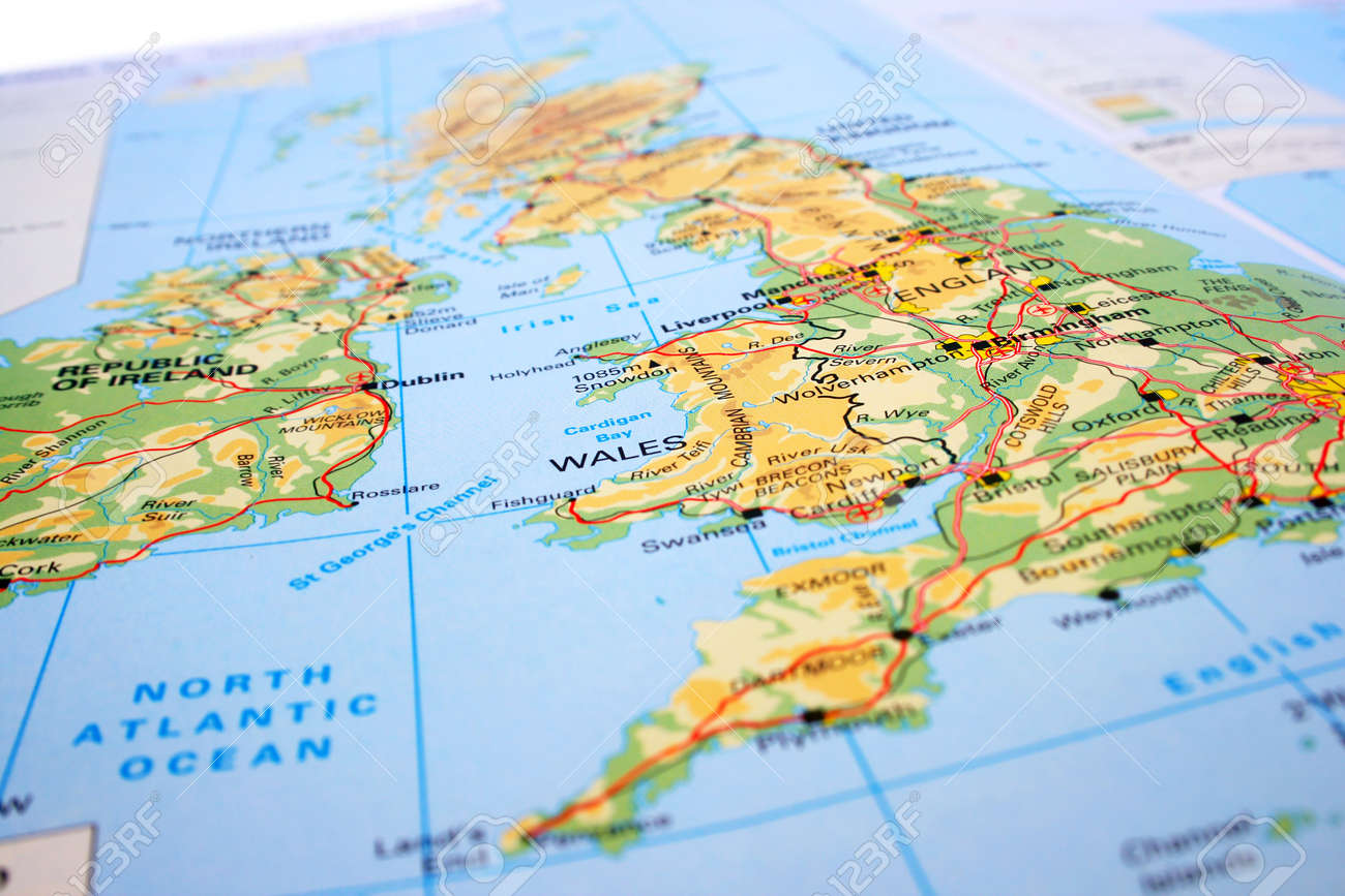 Map Of Uk Mountains And Rivers.United Kingdom Map Mountains Rivers Stock Photo Picture And