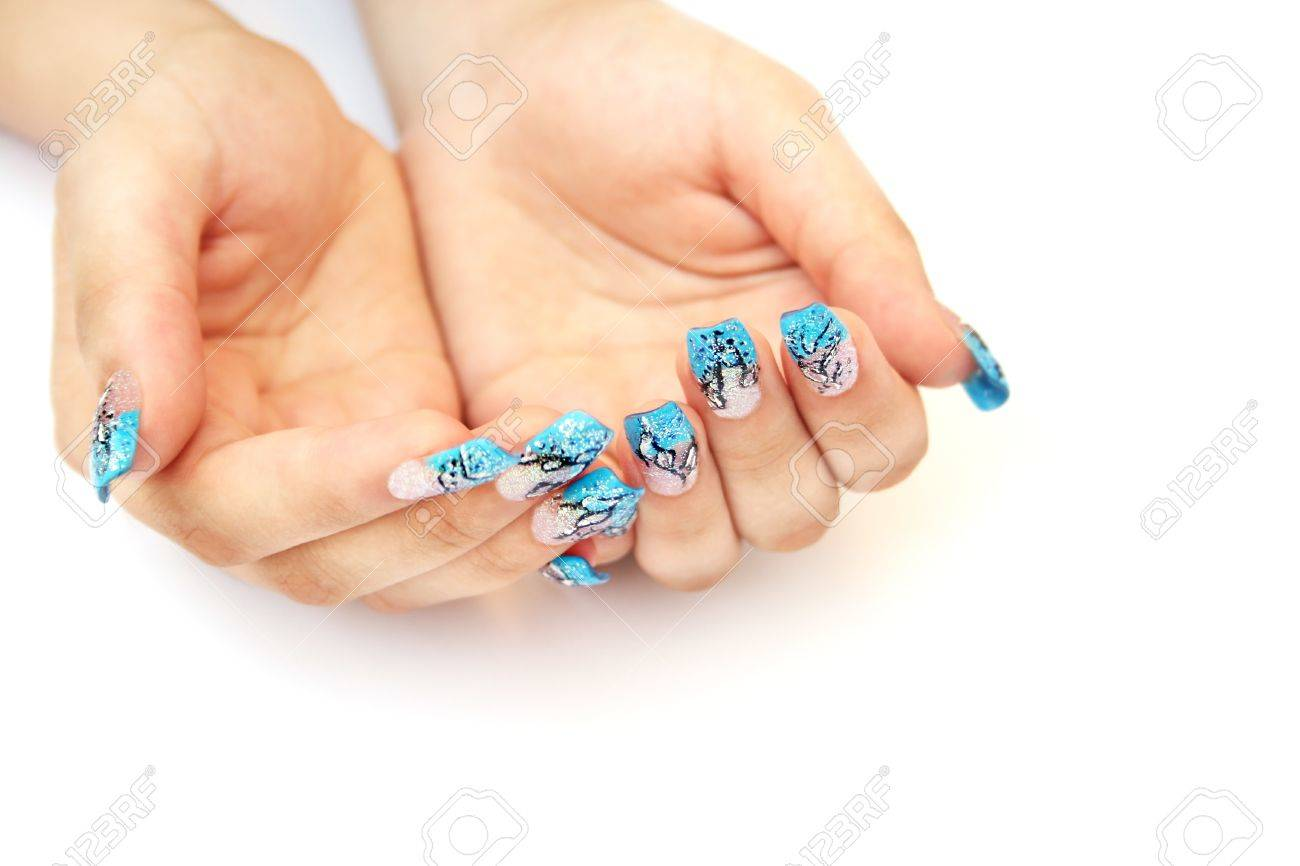 Hands with nail art isolated on white background. Stock Photo - 10045933