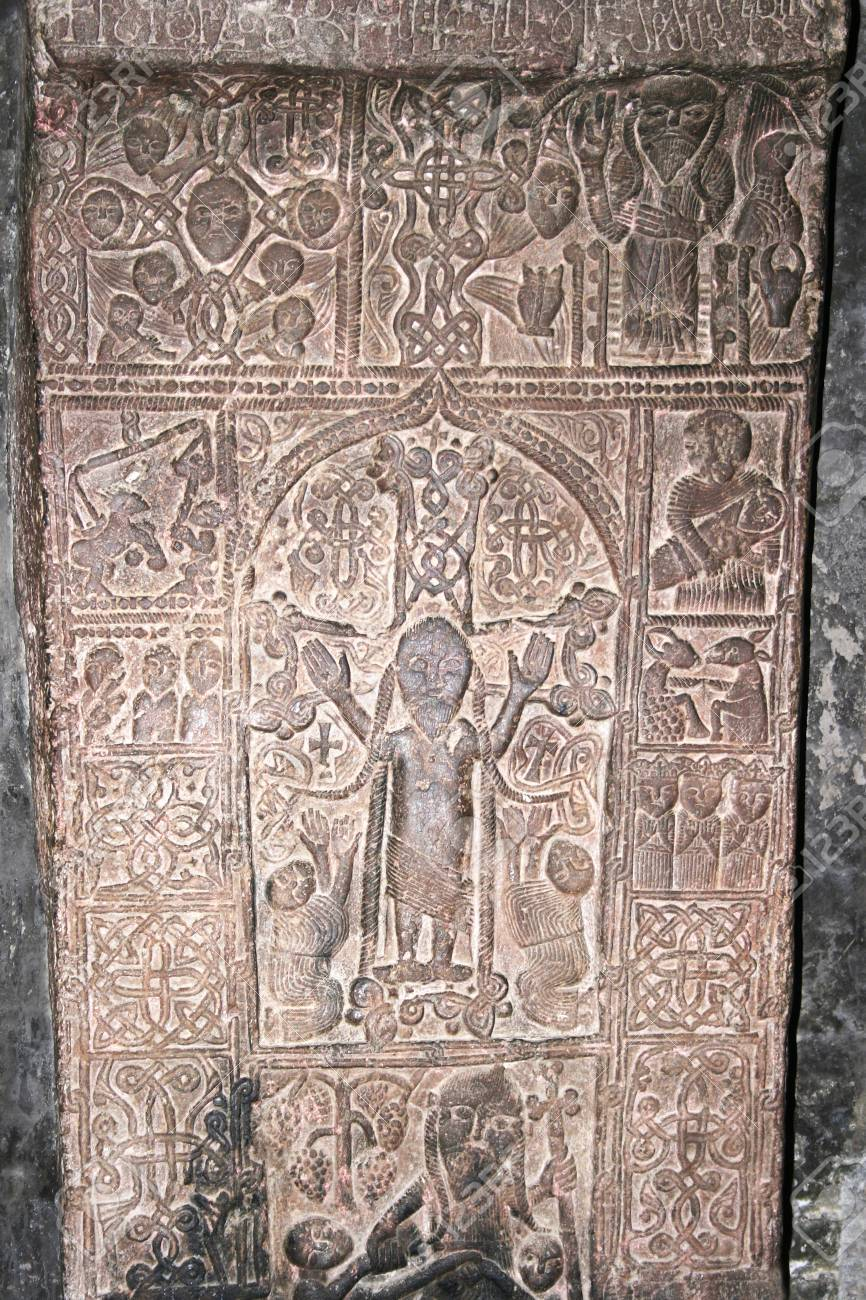 Cross-stones or khachkars in the 9th century Armenian monastery of Sevanavank. Stock Photo - 13643094