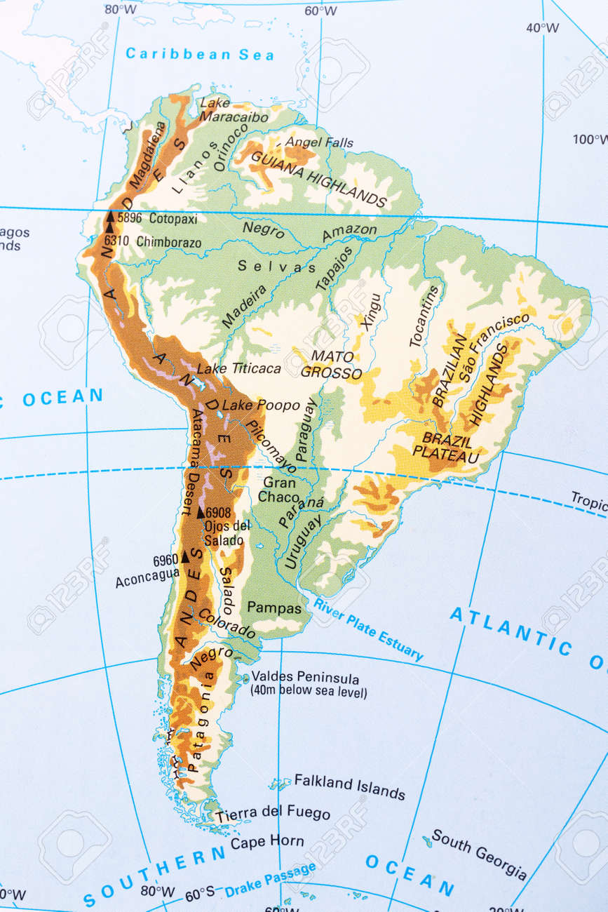 South America Physical Map With Labeling Stock Photo Picture And - South america map labeled