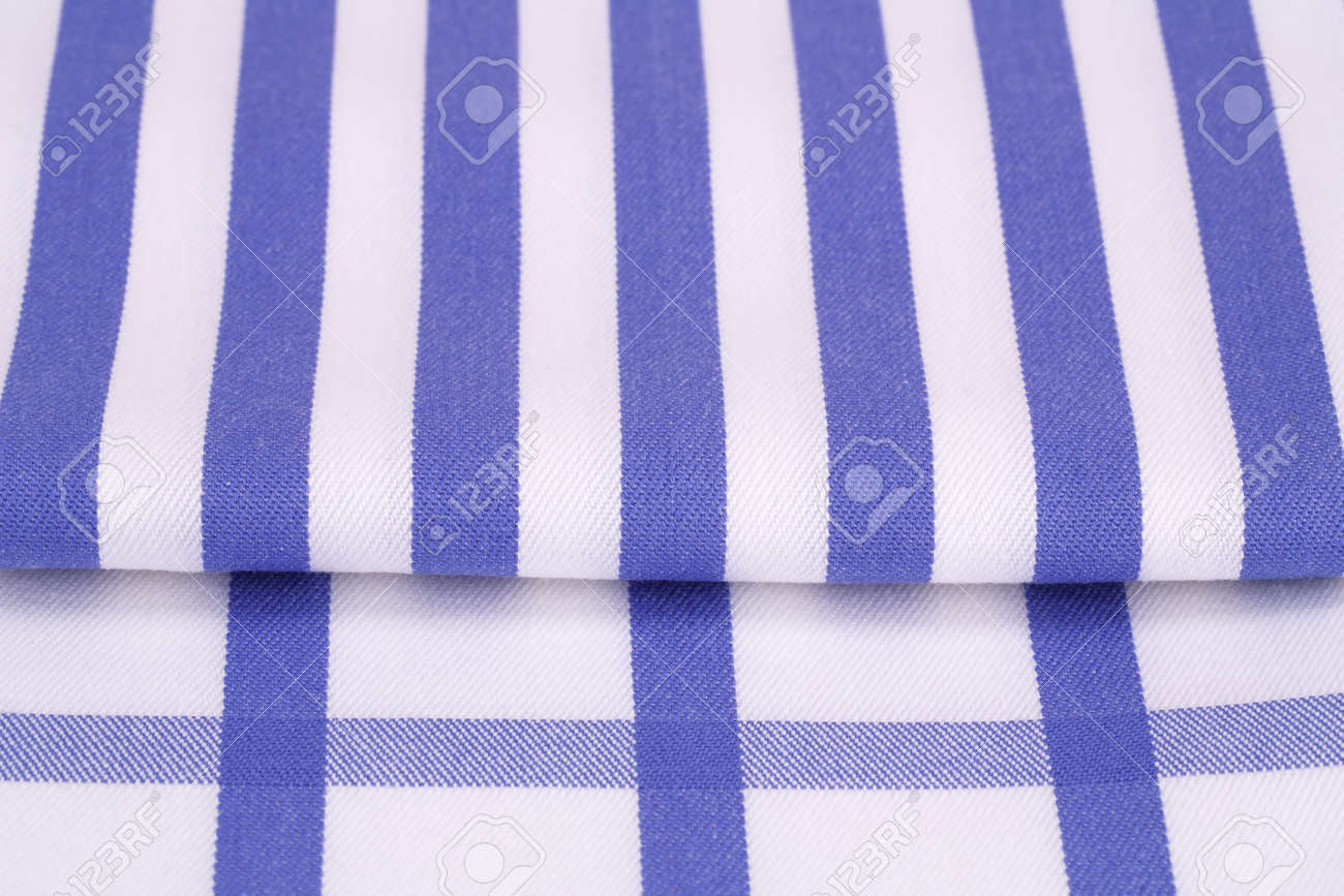 Beau Blue And White Kitchen Towels Closeup Picture. Stock Photo   94264918